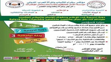 """Photo of مؤتمر سفراء الشباب والمرأة العرب الدولى""""الرجل والمرأة وتحديات العصر"""""""